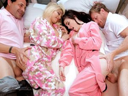 Young Sluts In Cute Pajamas Fucked By Older Guys