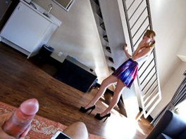 Pigtailed Teenager In A Miniskirt Gives A POV Blowjob